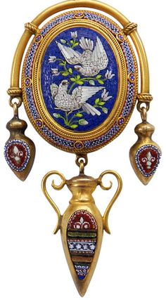 Micro Mosaique - Pendentif Ouvrant 'Colombes' - Or - Italie - 1880
