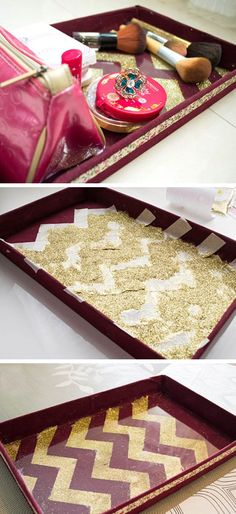 DIY Chevron Glitter Vanity Tray   Click Pic for 18 DIY Makeup Storage Ideas for Small Bedrooms   Easy Organization Ideas for the Home