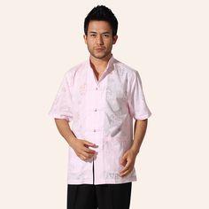 Light Pink Chinese Traditional Men Cotton Kung Fu Shirt Novelty Dragon Pattern Shirt With Pocket Size M L XL XXL XXXL MNS42 #Affiliate