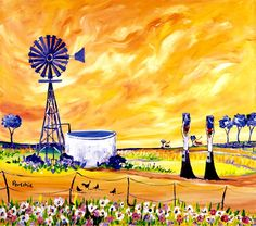 Art by Portchie Windmill Decor, African Art Paintings, South African Artists, Africa Art, Naive Art, Animation, Painting Inspiration, Art Pictures, Art Lessons