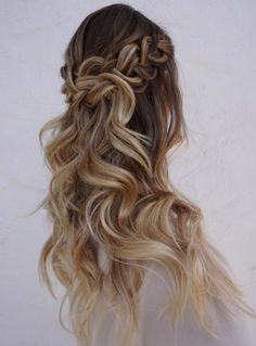 Stunning wavy wedding hairstyle with half up braid; Featured Hairstyle: Heidi Marie Garrett