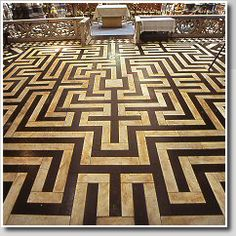 Pavement labyrinth, c.1843,  St.Omer Cathedral, France  Photo ©: Jeff Saward/Labyrinthos