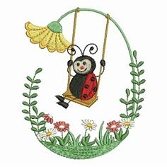Stitch this cute ladybug design on quilts, clothing, home decor and much more. Machine Embroidery Projects, Free Machine Embroidery Designs, Embroidery Applique, Embroidery Ideas, Lady Bug, Embroidered Quilts, Quilling Designs, Quilt Blocks, Sewing Crafts