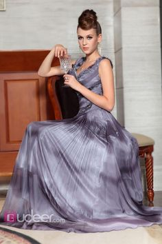 Gradient Grey Long Homecoming Dress Sleeveless Chiffon A-Line Pleated Beading Detail