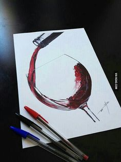 Wineglass with wine colored pens art