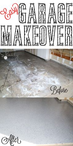 Easy Garage Makeover and a Giveaway! - Shanty 2 Chic - Ideas for the home - DIY garage floor makeover! easy enough to do by yourself…and the look of the finished floor is s - Garage Shed, Garage House, Garage Workshop, Garage Doors, Garage Workbench, Garage Signs, Garage Cabinets, Workbench Ideas, Detached Garage