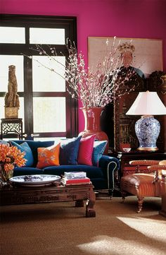 Create a backdrop perfect for eclectic, global style with a unique color like Ralph Lauren Paint Racer Pink