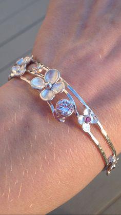 Sterling Silver Genuine Ruby & CZ Flower by CopperfoxGemsJewelry