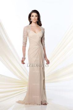 Sheath Column V-neck Chiffon Lace Sweep Brush Train Prom Dresses -  IZIDRESSES 9f5120b46