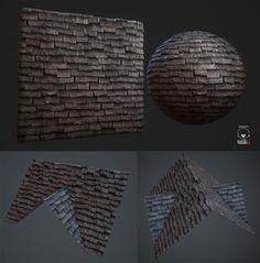 Stone Slate Roof Tiles - Procedural, Hugo Beyer on ArtStation at https://www.artstation.com/artwork/stone-slate-roof-tiles-procedural
