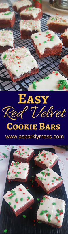 These Red Velvet Cookie Bars are super easy but very impressive. They're the perfect treat for any holiday! December is here! This whole month is going to be holiday orientated. For the next few week I have a line up of delicious holiday baking that will soon become some of your families favorite treats.