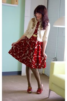dress/cardigan outfit in red and cream
