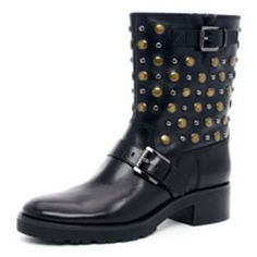 Studded leather boot