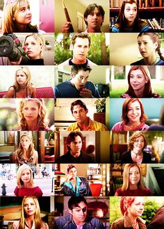 Buffy, Xander and Willow pictured in each of the seven years of the series. Beautiful people.
