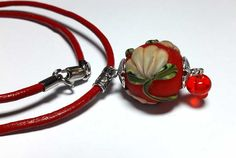 Beaded Jewelry Handmade Lampwork Necklace pendant . Frosted beads Hollow balls. Beads coral, orange, red, green.