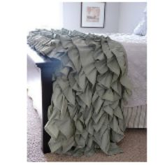 DIY ruffle throw with two king size sheets