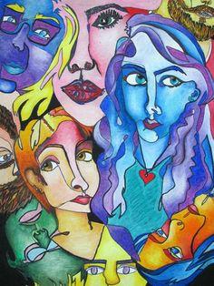Expressive, Oil Pastel, Contour Line Faces - Conway High School Art Project