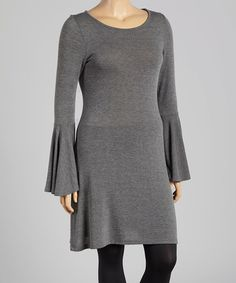 Another great find on #zulily! Charcoal Bell-Sleeve Shift Dress - Plus #zulilyfinds