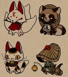 Japanese Artwork, Japanese Tattoo Art, Japanese Folklore, Arte Sketchbook, Furry Drawing, Japan Art, Kawaii Art, Cat Tattoo, Art Reference Poses
