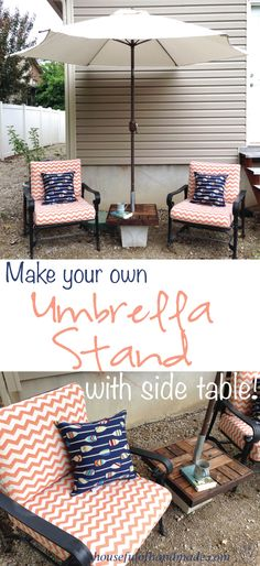diy patio umbrella stand side table we create pinterest