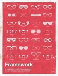 Framework is a series of posters highlighting the most iconic men's eyewear of the last 100 years. The collection includes a compilation poster featuring 28 glasses from male personalities in music, film, entertainment, and politics; as well five posters highlighting iconic individuals. Designed by Glenn Manucdoc.