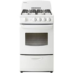 Danby 20 Inch Gas Range with cu. Oven Capacity, 4 Open Burners, Large Oven Window with Interior Light, Electronic Ignition and Easy Clean, Lift-Up Porcelain Cooktop in White Small Appliances, Kitchen Appliances, Large Oven, Single Oven, Electric Oven, Fireplace Accessories, Oven Racks, Interior Lighting, Small Living