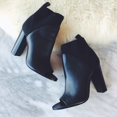 "Vince Open Toe Booties with Elastic Shaft •An architectural heel grounds a sleek open-toe bootie that pairs with a stretchy elasticized shaft with a rich leather vamp.   •4"" heel, 100mm pitch. 4 1/4"" boot shaft. Pull-on style.   •Size 6, true to size in length but runs narrow.   •Like new condition: soles have been refinished, light pilling on elastic shaft and light scratches on upper.  •NO TRADES/PAYPAL/MERC/HOLDS/NONSENSE. Vince Shoes Heels"