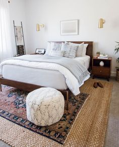Master Bedroom Makeover using California Casual eclectic design style with West Elm bed, Parachute Home bedding and plant babies of course! Come see how you can transform your bedroom too! Cozy Bedroom, Bedroom Sets, Home Decor Bedroom, Bedroom Furniture, Furniture Makeover, Rug For Bedroom, Ikea Boho Bedroom, Casual Bedroom, Stylish Bedroom