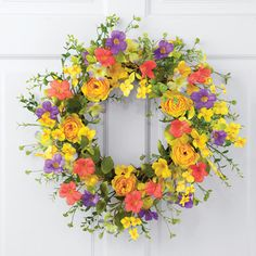 """18/""""Dia Lighted Colorful Butterfly Floral Wall Door Hanging Wreath Spring Summer"""