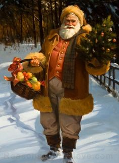 Bearing Gifts, a Tom Browning design depicts Santa walking in a snow covered forest with a basket of fruit and a small Christmas tree . This Santa Claus print uses the giclee printing process (fade r Christmas Puppy, Noel Christmas, Father Christmas, A Christmas Story, Christmas Ideas, Santa Pictures, Christmas Pictures, Original Santa Claus, Vintage Christmas Images