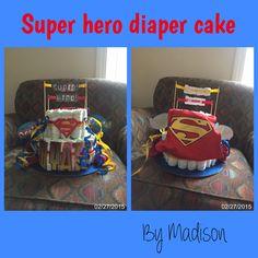 Super hero diaper cake I made for my sisters baby shower. #superman #superhero #SUPERcute #blue #yellow #red #diapercake