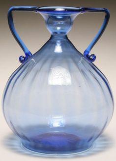 Venini blue soffiati Murano art glass vase, probably Vittorio Zecchin.