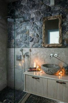 stone small bathroom design | http://bathroommodernstyle.blogspot.com