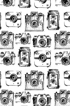 Camera Sketches by gypseeart – Black and white vintage camera sketches on fabric, wallpaper, and gift wrap. Source by spoonflower Camera Sketches, Camera Drawing, Camera Art, Camera Doodle, Camera Wallpaper, Wallpaper Backgrounds, Iphone Wallpaper, Pattern Wallpaper, Fabric Wallpaper
