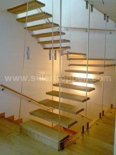 escalera volada en u de vidrio mistral acryl siller stairs