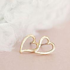 Gold Open Heart Stud Earrings, Minimalist