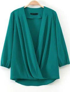 Green V Neck Cross Loose Blouse - Sheinside.com