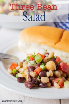 Three bean salad made with black beans, white beans and garbanzo beans. This is a perfect summer salad and is just the side dish to take to a BBQ or a potluck! Whip this salad up in under 10 minutes and you're ready to go! Salads Up, Make Ahead Salads, Summer Salads, Bean Salad Recipes, Salad Dressing Recipes, Lentil Recipes, Salad Dressings, Drink Recipes, Four Bean Salad