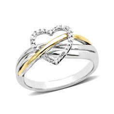 Zales Diamond Accent Crossover Ring in Sterling Silver with 14K Two-Tone Gold Plate cMypUP