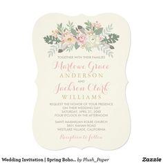 Wedding Invitation   Spring Boho Florals