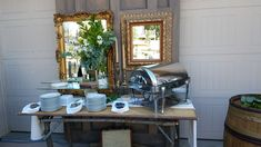 The panels had the tough job of disguising the garage. Here is one of the food stations all dressed up.