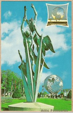"""Vintage chrome postcard of Marshall Fredericks' 'The Freedom of the Human Spirit' sculpture at the 1964 New York World's Fair held in New York, NY. """"...commissioned by the New York World's Fair Corporation to remain permanently in the Flushing Meadow Park after 1965."""" #Expo2015 #Milan #WorldsFair"""