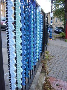Yarn bomb Blue Waves.