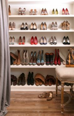 shoe closet/great use of the shelves in our soon to be master closet Master Closet, Closet Bedroom, Closet Space, Walk In Closet, Shoe Closet, Dream Closets, Shoe Storage, Closet Organization, Decoration