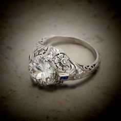 2.46ct Diamond and Sapphire Engagement Ring - Vintage Engagement Ring - GIA Certified - Antique Filigree Platinum Setting - Estate Jewelry