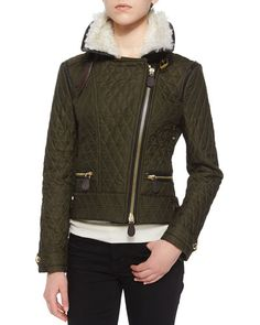 B2YUB Burberry Brit Weatherford Quilted Aviator Jacket W/ Fur Trim