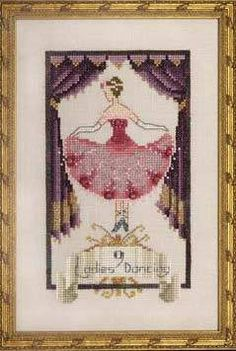 Nine Ladies Dancing is the title of this cross stitch pattern from Nora Corbett's series titled 12 Days of Christmas.