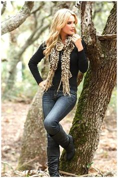 Animal print scarf, denim, and boots : )