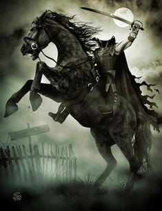 It's finally October and I've been wanting to do a traditional Headless Horseman theme for a while now. The Headless Horseman Rides Again Halloween Kunst, Fröhliches Halloween, Halloween Artwork, Halloween Painting, Halloween Pictures, Fantasy Kunst, Dark Fantasy Art, Dark Art, Horror Art