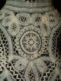 Antigüedades: Hermoso cuello de encaje de Battenberg con aplicaciones de tul bordado ca. 1900. - Foto 4 - 9224643